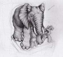 unfinished elephants by jinnybear