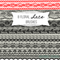 8 Floral Lace Photoshop Brushes by haciendodesigns