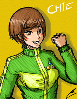 Chie looking happy by borockman