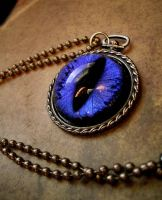 Elven Dragon Eye - Ethereal Purple Blue Pendant by LadyPirotessa