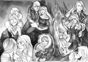 Artemis and Draven sketchpage by Lapis-Razuri