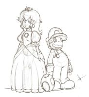 Mario and Peach by BerserkerOx