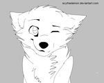 Free MS Paint Wolf Lineart by scythedemon
