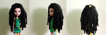 Black Chenille Rasta Wig Monster High Doll by BrianaDragon
