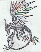 Rainbow Dragon Tribal Tattoo by Skrayle
