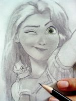 Rapunzel and Pascal by Shaini91