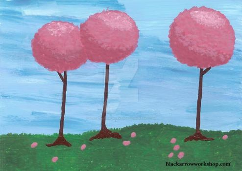 Pink trees ACEO by Black-Arrow-Workshop
