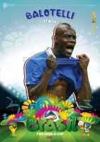 BALOTELLI WORLD CUP 2014 POSTER by asendos