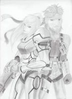Samus Aran and Solid Snake by Ayreth-Kirigashi
