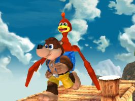 Banjo and Kazooie over Mario by Aafyre84