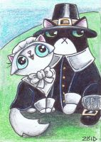Funny cat pilgrims ACEO by KingZoidLord