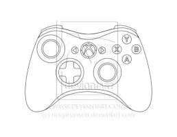 Xbox 360 Controller - Line Art by rickymanson