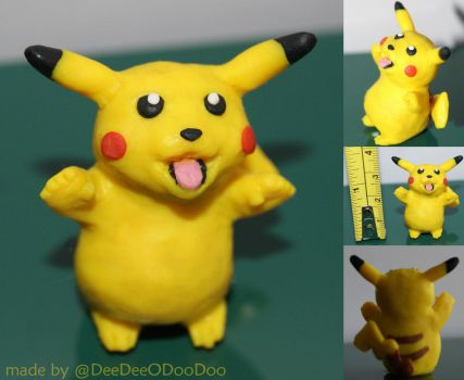 Cheeky Pikachu - Tongue Sticking Out Polymer Clay by ItsaBumbleDee