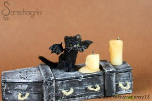 OOAK Dollhouse Miniature Pet Black Kitten w costum by Teensyweensybaby