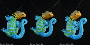 Polymer Clay Collared Lizard Pendant by CustomExotics