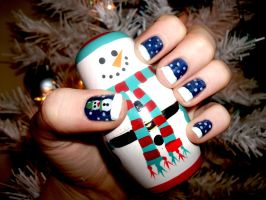Christmas Snowman nails by RoxysSlushPuppie