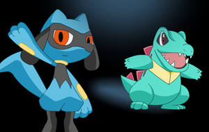 Totodile and Riolu by mitchell00