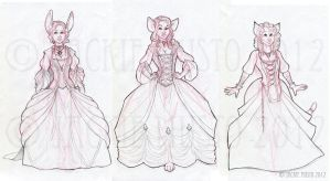 Dress Sketches - The Trio of Ladies by Jackie-M-Illustrator
