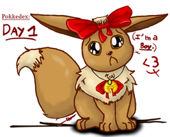 Dec. Pokkedex Day 1: Eevee don't like ribbons. by 80Roxy08