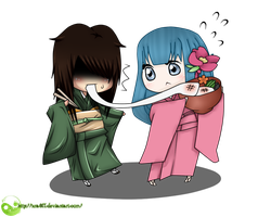 P.C. It stretches?! Kenshin and Emiko by xra911