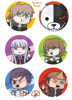 Dangan Ronpa Buttons by Snuckledrops
