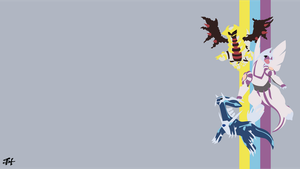 Creation Trio (Pokemon) Minimalist Wallpaper by slezzy7