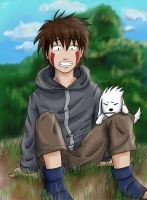 Kiba and Akamaru by irishgirl982