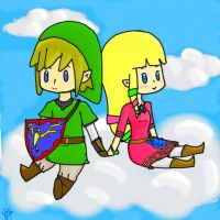 ZeLink Chibis on a cloud by NellyPixit
