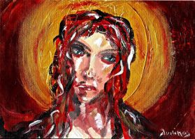 RED MARY girl with halo portrait by vanouka