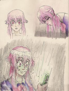 Gasai Yuno sketches by Stronglenhead