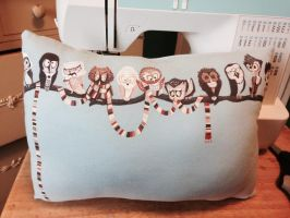 Doctor Hoo Upcycled Pillow by o-0-Bhae-0-o
