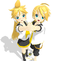Kagamine Rinto and Lenka by MMDbeginner