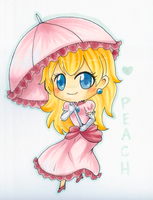 Copic Chibi Princess Peach by sleepypandie