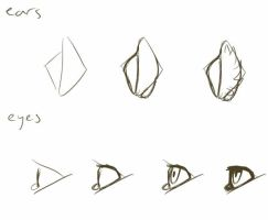 how I draw: ears and eyes by TehChessie