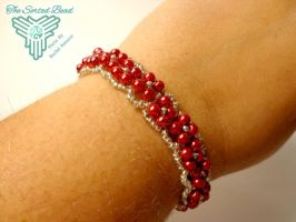 Red and Silver Raw Flower Bracelet by TheSortedBead