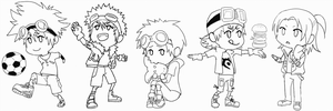 Digimon - Leaders -lineart- by onkeikun