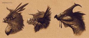 Terror Birds - Head Sketches by Susana-Santos