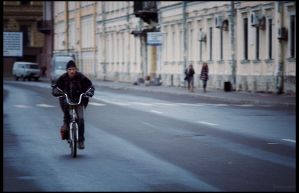man and bicycle by restive-wench