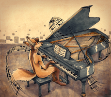 Piano Fox by Tsebresos