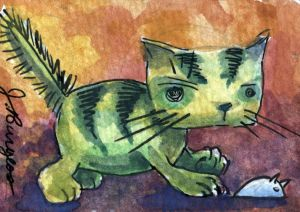 cat ACEO miniature watercolor CATCH AND RELEASE by art-hack