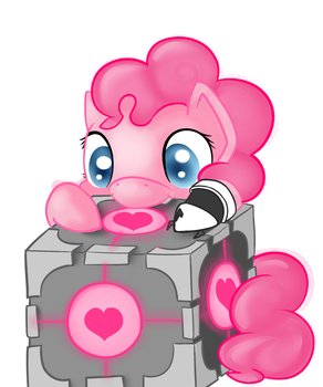 Companion Cube- Nom Nom by Portal-Pie