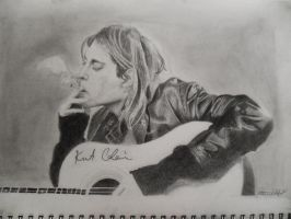 pencil drawing of Kurt Cobain RIP by drawmyownworld