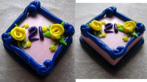 21st birthday cake - in clay by SarahRose