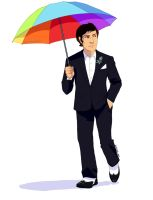 Chuck Bass and Umbrella by TINAciousArtist