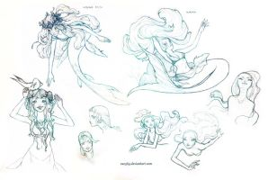 Mermaid sketchies by Zae369