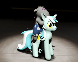 Smartypants riding the Lyra Plushie by d0ntst0pme