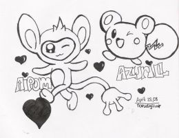 AIPOM AND AZURIL by narudigiluvr