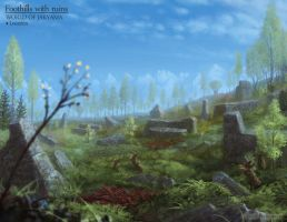 Foothill with ruins - World of Jakyama by Cloister