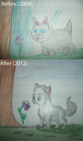 Grey Kitty Before and After by Creativepup702