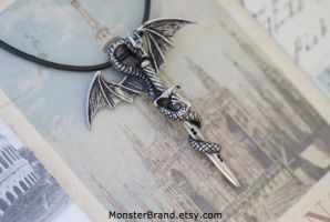 Dragon and Sword Necklace by MonsterBrandCrafts